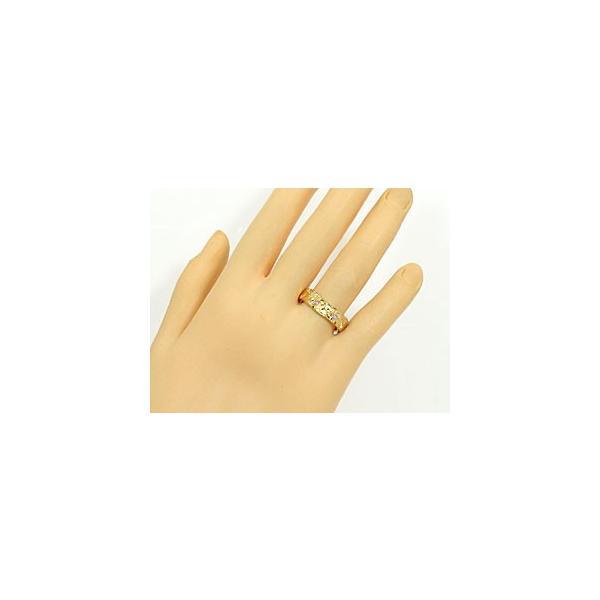 ピンキーリング ハワイアンジュエリー 指輪 ハワイアンリング イエローゴールドk18 ハワイ ダイヤモンド 18金 ダイヤ ストレート 母の日