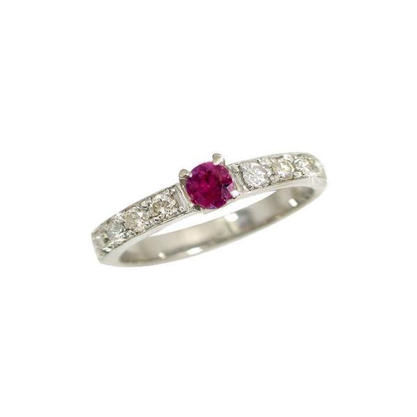 ピンキーリング ルビー ダイヤモンドリング プラチナ 指輪 7月誕生石 ダイヤ ストレート 宝石 クリスマス 女性