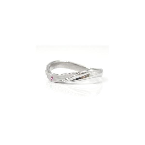 ピンキーリング ホワイトゴールドk10ピンクサファイアリング 指輪 k10 10金 ストレート 宝石 クリスマス 女性