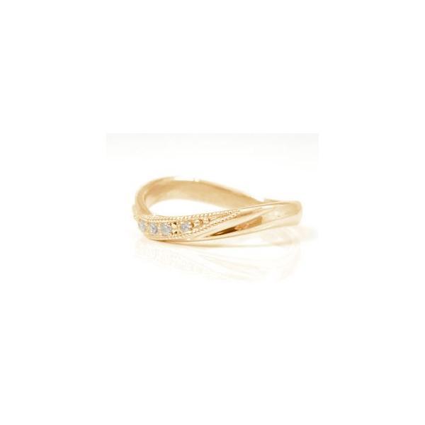 マリッジリング 結婚指輪 ペアリング ダイヤモンド ピンクゴールドk18 ミル打ち 結婚式 18金 ダイヤ ストレート カップル メンズ レディース クリスマス 女性