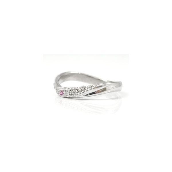 マリッジリング ダイヤモンド ピンクサファイア 結婚指輪 ペアリング ホワイトゴールドK18 結婚式 18金 ダイヤ ストレート カップル メンズ レディース
