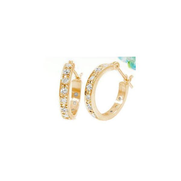 ダイヤモンドピアス フープピアス スタッド ピンクゴールドk18 18金 天然石 ダイヤ レディース 宝石 18k クリスマス 女性