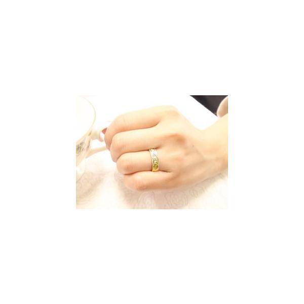ピンキーリング ハワイアンジュエリー 指輪 イエローゴールドk18 手彫りハワイアンリング ミル打ち ミル 地金リング 18金 k18yg ストレート 母の日