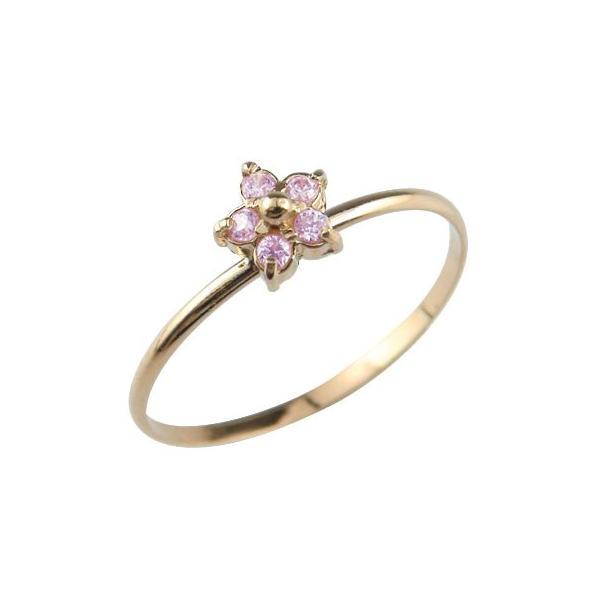 ピンキーリング リング ピンクゴールドk18 ピンクサファイア 指輪 重ね付け 華奢 フラワー 18金 9月誕生石 ストレート クリスマス 女性