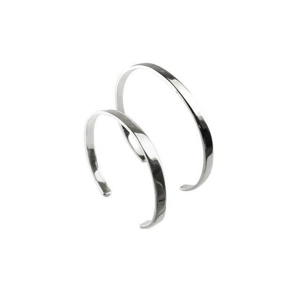 18金 バングル メンズ ブレスレット ペア ホワイトゴールドK18 シンプル MサイズLサイズ カップル レディース クリスマス 女性