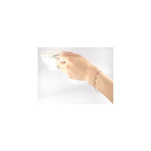 18金 ブレスレット  2連 ガーネット ピンクゴールドK18 手作り 1月の誕生石  チェーン レディース 宝石 クリスマス 女性