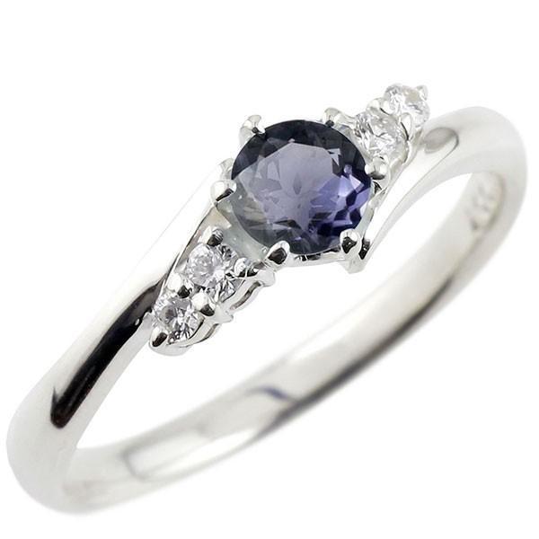 婚約指輪 エンゲージリング アイオライト ダイヤモンド リング 指輪 一粒 大粒 ストレート シルバー 宝石 クリスマス 女性
