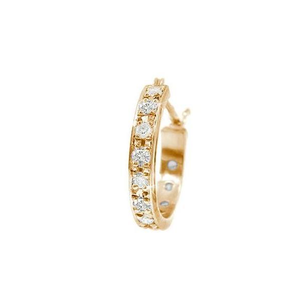 フープピアス ダイヤモンド ピアス 片耳 スタッド ピンクゴールドk18 ダイヤ 18金 宝石 クリスマス 女性