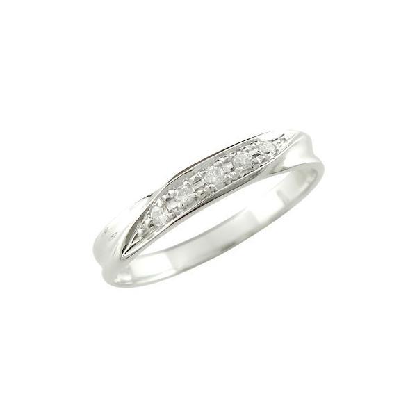 ピンキーリング ダイヤモンドリング 指輪 ホワイトゴールドk18 18金 ダイヤ ストレート クリスマス 女性