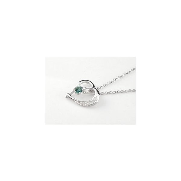 ダイヤモンド オープンハート プラチナネックレス 一粒 ブルーブルーブルー ダイヤ ハート プラチナ ダイヤ レディース