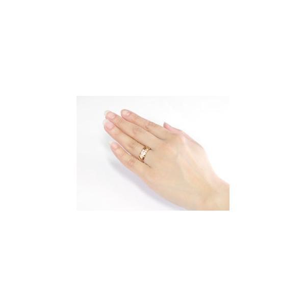 ハワイアン ペアリング 人気 結婚指輪 ピンクトルマリン ダイヤモンド 幅広 ピンクゴールドk10 ホワイトゴールドk10 10金  ダイヤ ストレート 宝石  女性 母の日