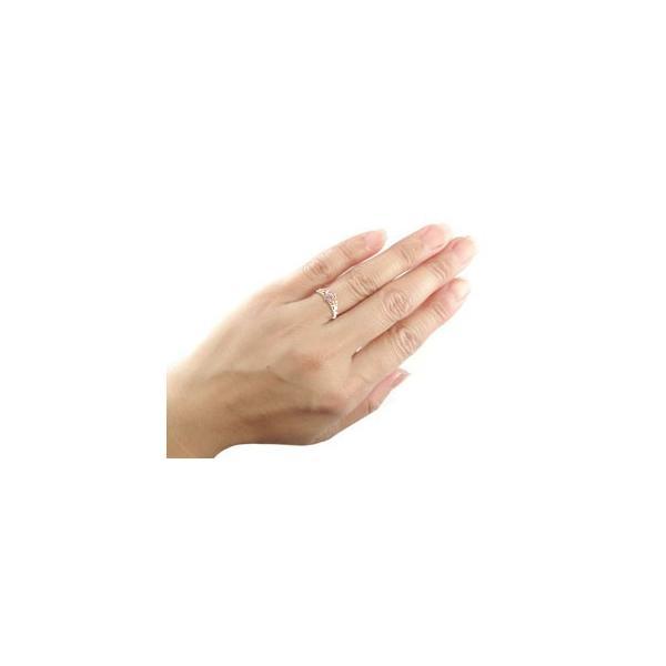 ピンキーリング ティアラリング 指輪ダイヤモンド ミル打ち ピンクゴールドk18 18金 ダイヤ 4月誕生石 ストレート 王冠 クラウン プリンセス 宝石