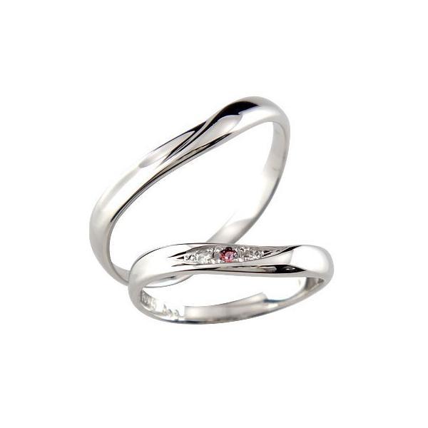ペアリング 結婚指輪 ダイヤモンド ガーネット ホワイトゴールドk18 結婚式 18金 ダイヤ カップル クリスマス 女性