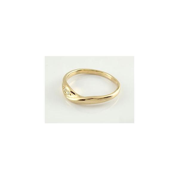 ピンキーリング V字 ダイヤモンド リング イエローゴールドk18 18金 ダイヤモンドリング ウェーブリング ダイヤ スリーストーン クリスマス 女性