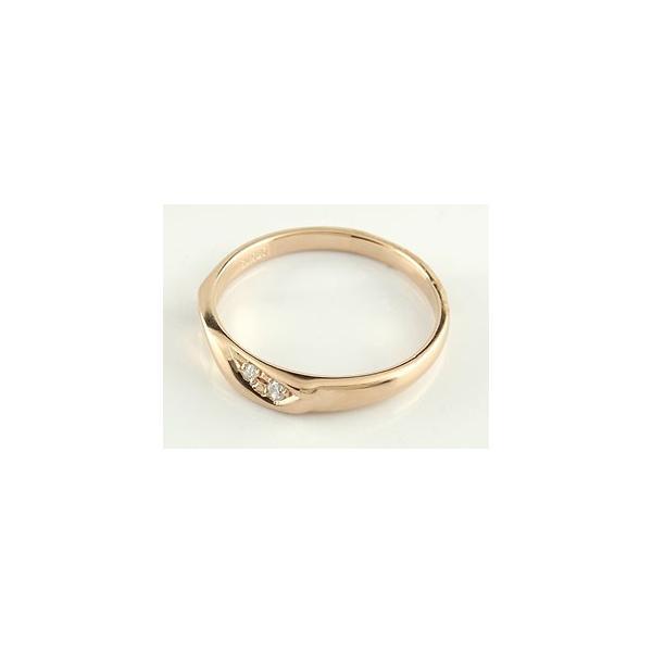 ペアリング 結婚指輪 マリッジリング ダイヤモンド ハート ピンクゴールドk18 結婚式 ダイヤ 18金 ストレート カップル クリスマス 女性