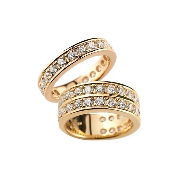 ペアリング 結婚指輪 マリッジリング ダイヤモンド ハーフエタニティ ピンクゴールドk18 結婚式 ダイヤ 18金 ストレート カップル クリスマス 女性