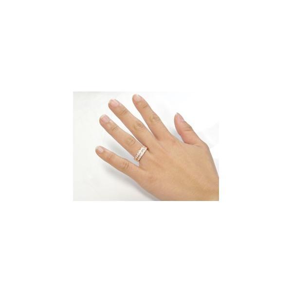 ピンキーリング ダイヤモンド エタニティ ハーフエタニティ リング ピンクゴールドk18 18金 リング 幅広 指輪 ダイヤ ストレート クリスマス 女性