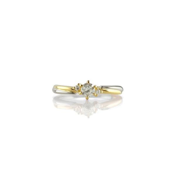 婚約指輪 プラチナ エンゲージリング ダイヤモンド イエローゴールドk18 18金 ダイヤモンドリング 一粒 ストレート クリスマス 女性
