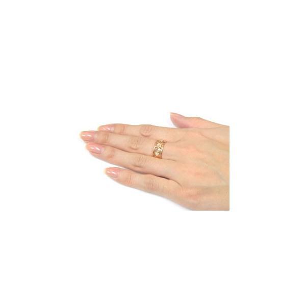 ハワイアン ペアリング 人気 結婚指輪 ミル打ち 幅広 透かし ピンクゴールドk10 地金リング 10金 k10pg ストレート カップル  プレゼント 女性 母の日