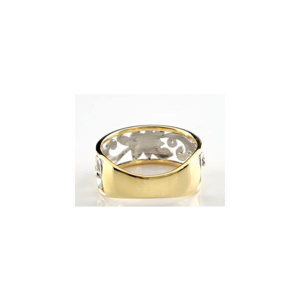 ハワイアン ペアリング 人気 結婚指輪 幅広 透かし プラチナ900 イエローゴールドk18 コンビ 地金リング 18金 pt900 k18yg ストレート カップル 母の日