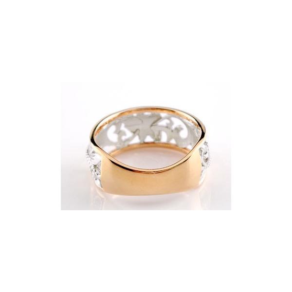 ハワイアンジュエリー プラチナ リング 指輪 幅広 透かし ミル打ち ピンクゴールドk18 ハワイアンリング 地金リング 18金 pt900 k18pg ストレート 母の日