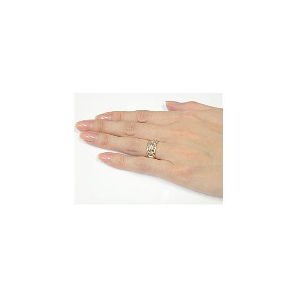 ハワイアン ペアリング 人気 結婚指輪 幅広 透かし ミル打ち イエローゴールドk18 プラチナ900 コンビ 地金リング 18金 pt900 k18yg ストレート カップル 母の日