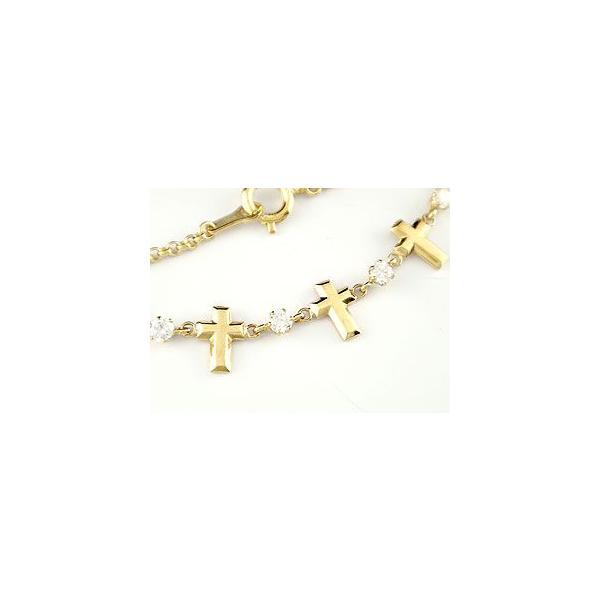 18金 ブレスレット ダイヤモンド ゴールド  クロス イエローゴールドk18  チェーン ダイヤ レディース クリスマス 女性