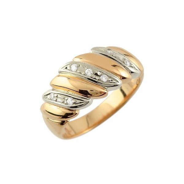 ピンキーリング ダイヤモンド リング 幅広 指輪 ピンクゴールドk18 コンビ 18金 ダイヤモンドリング ダイヤ ストレート 宝石 クリスマス 女性