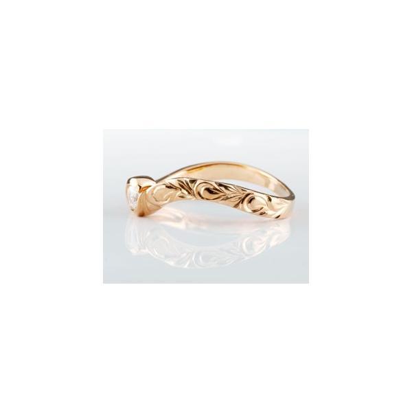 ピンキーリング ハワイアンジュエリー ハワイアン ダイヤモンド リング 指輪 ピンクゴールドk18 ハワイアンリング 18金 k18pg ダイヤ ストレート 母の日