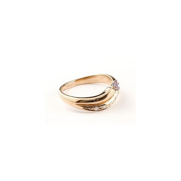 ピンキーリング ピンクトルマリン リング 指輪 ダイヤモンド ダイヤ スパイラルリング ピンクゴールドk18 18金 10月誕生石 ストレート 宝石 クリスマス 女性