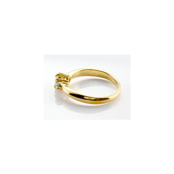 ピンキーリング ダイヤモンド リング ブルートパーズ 指輪 大粒 ダイヤ イエローゴールドK18 18金 ダイヤモンドリング ダイヤ ストレート 宝石 クリスマス 女性