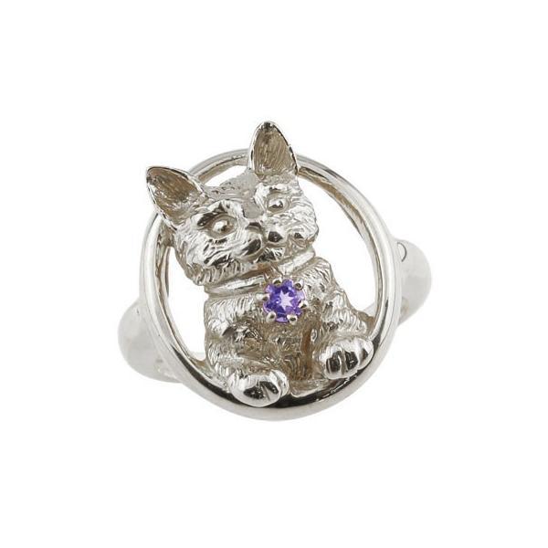 ピンキーリング 猫 プラチナ リング アメジスト 指輪 2月誕生石 ストレート 宝石 クリスマス 女性