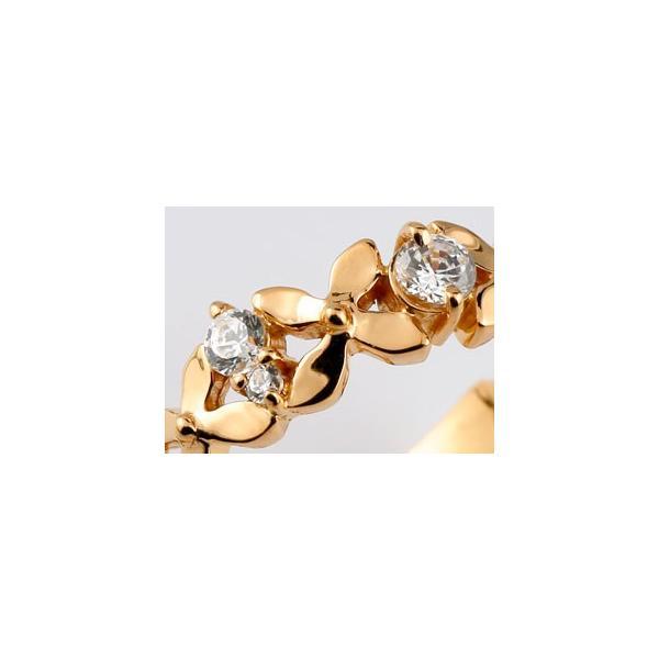 ピンキーリング ダイヤモンド リング フラワー 花 指輪 ダイヤ ピンクゴールドk18 18金 ダイヤモンドリング ストレート クリスマス 女性