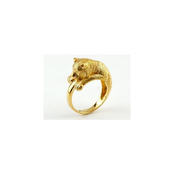 ピンキーリング 虎 リング タイガー 指輪 イエローゴールドk18 18金 ストレート クリスマス 女性