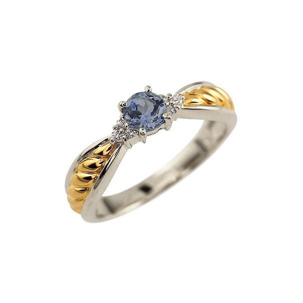 ピンキーリング アイオライト プラチナ リング ダイヤモンド 指輪 イエローゴールドk18 コンビ ダイヤ 18金 ストレート 宝石 クリスマス 女性