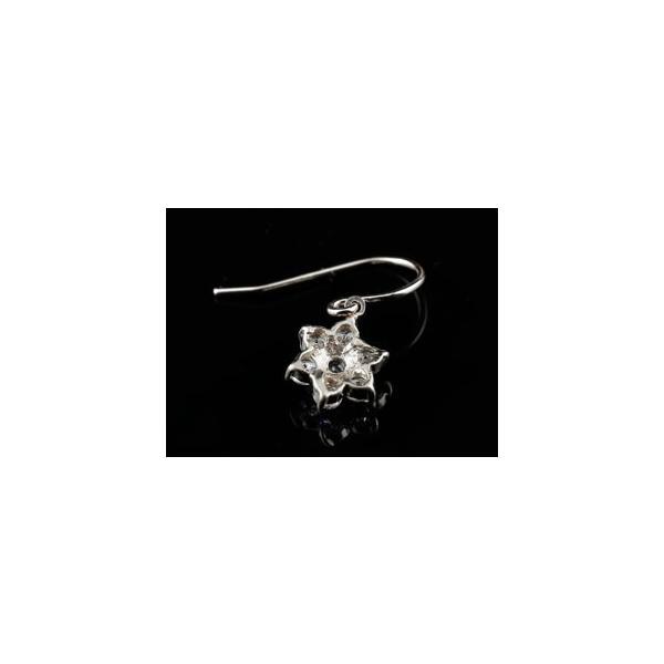 ダイヤモンド タンザナイト ピアス フラワー 花 フックピアス ホワイトゴールドk18 レディース 18金 天然石 ダイヤ レディース 宝石 18k クリスマス 女性