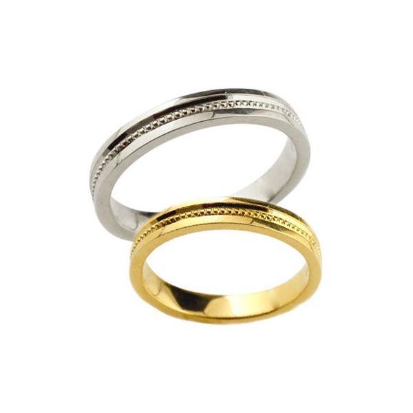 ペアリング 人気 結婚指輪 マリッジリング 結婚式 地金リング イエローゴールドk18 ホワイトゴールドk18 ミル打ち 宝石なし シンプル 18金 ストレート カップル