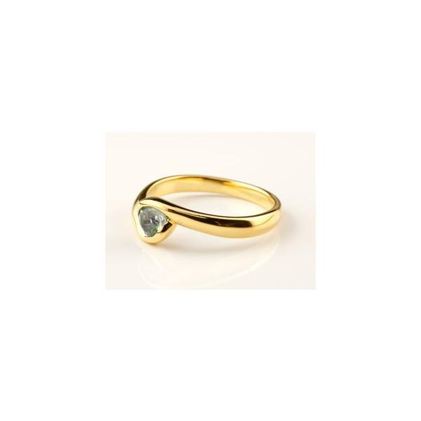 ピンキーリング ペリドット リング 指輪 スパイラルリング イエローゴールドk18 18金 一粒 大粒 シンプル レディース 8月誕生石 ストレート 宝石