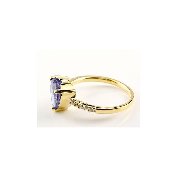 ピンキーリング ハートリング アメジスト ダイヤモンド 指輪 イエローゴールドk18 18金 2月誕生石 ダイヤ 宝石 クリスマス 女性