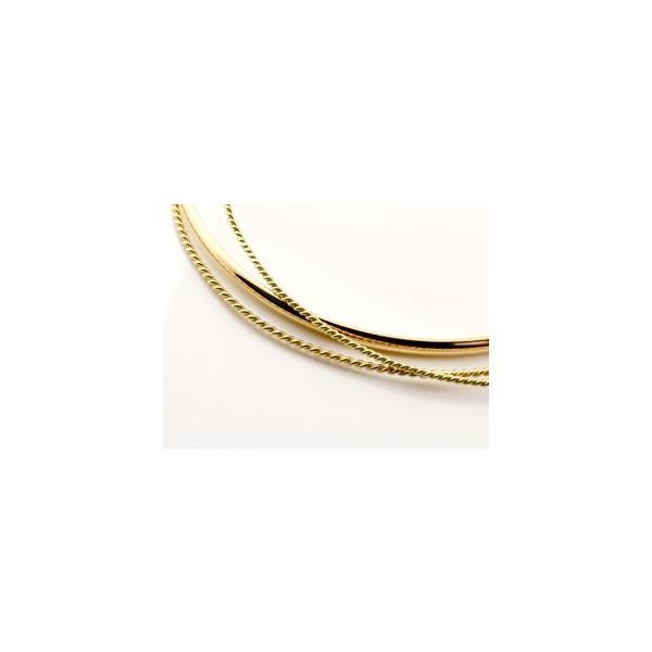 18金 バングル メンズ ブレスレット 3連 イエローゴールドk18 地金 甲丸 ツイスト シンプル レディース クリスマス 女性