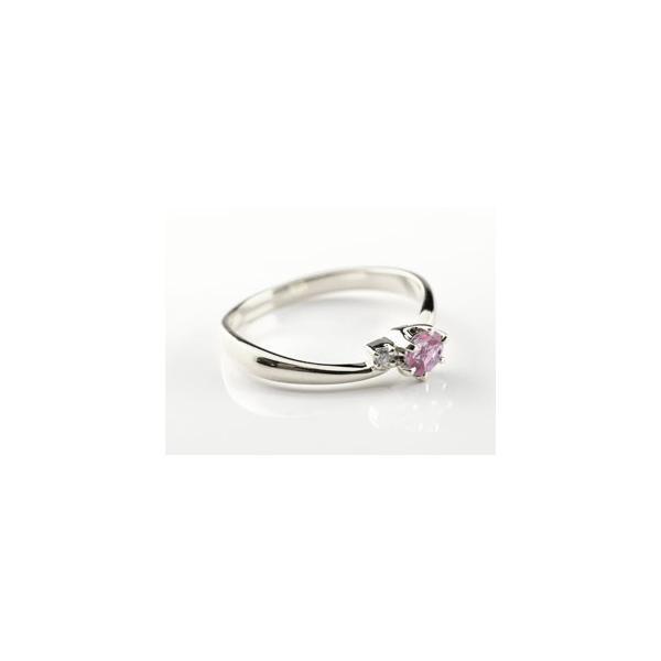 ピンキーリング ピンクサファイア プラチナリング 指輪 ダイヤモンド 大粒 pt900 レディース 9月誕生石 ダイヤ ストレート 宝石 クリスマス 女性