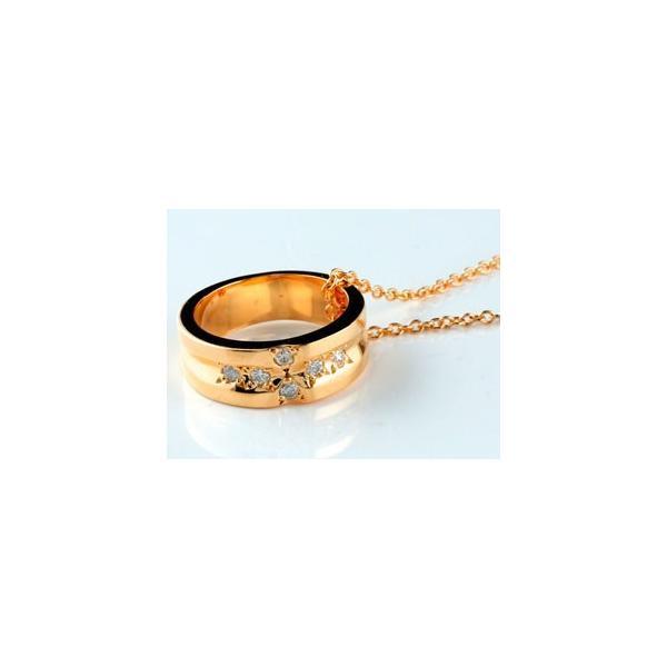 ペアネックレス クロスリング ダイヤモンド ピンクゴールドk18 ホワイトゴールドk18 ダイヤ リングネックレス チェーン 人気 18金 ストレート レディース