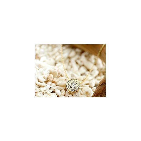 ペアプラチナ ネックレス ペアペンダント ハワイアンジュエリー ダイヤモンド イエローゴールドk18 pt900 マイレ ミル打ちデザイン 人気 クリスマス 女性
