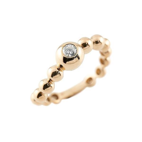 ピンキーリング ダイヤモンド 指輪 丸玉 ボールリング S字 カーブ ピンクゴールドk18 ダイヤ ダイヤモンドリング 一粒 レディース 18金 ストレート