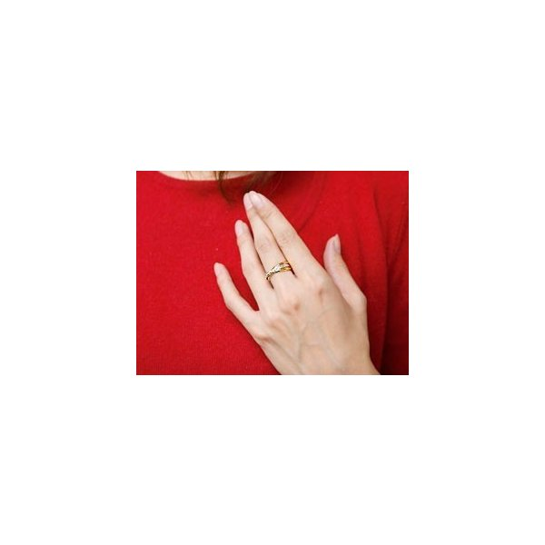 ハワイアンジュエリー ペアリング 結婚指輪 マリッジリング 3連リング ゴールドK18 甲丸リング 地金リング スリーカラー 18金 ストレート カップル2.3  女性