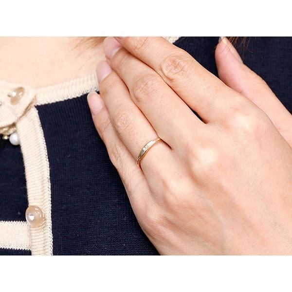 ピンキーリング 婚約指輪 エンゲージリング ダイヤモンド ピンクゴールドk18 一粒 18金 極細 華奢 スパイラル 指輪 クリスマス 女性