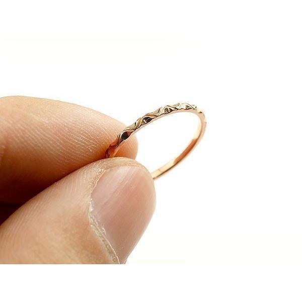 ピンキーリング ピンクゴールドk18 極細 華奢 アンティーク ストレート 指輪 地金リング クリスマス 女性