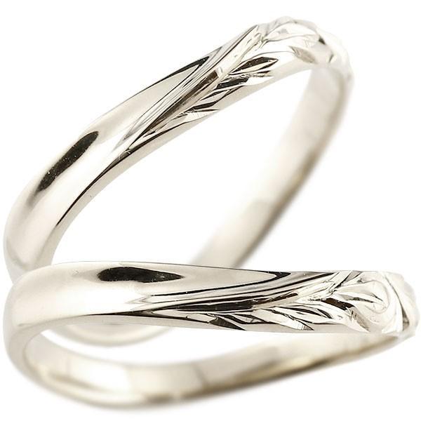 ハワイアンジュエリー ペアリング 結婚指輪 マリッジリング ホワイトゴールドk10 ハワイアンリング V字 地金 k10 カップル  プレゼント 女性 母の日