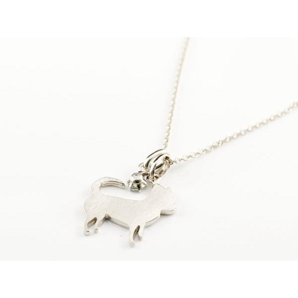犬 ネックレス ペリドット 一粒 ペンダント チワワ ホワイトゴールドk10 10金 いぬ イヌ 犬モチーフ 8月誕生石 チェーン 人気 宝石 クリスマス 女性