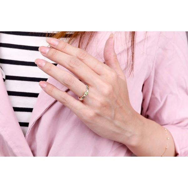 婚約指輪 エンゲージリング ペリドット リング プラチナ リング 指輪 ピンクゴールドk18 コンビリング 一粒 大粒 18金 ダイヤ ストレート 宝石 クリスマス 女性